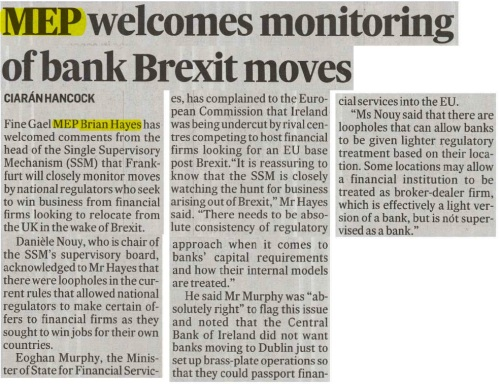 240317 MEP Welcomes monitoring of bank brexit moves