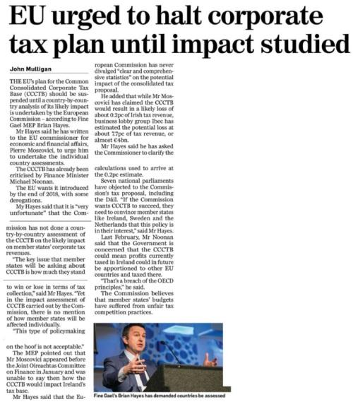 020517 EU urged to halt corporate tax plan