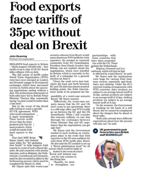 080517 Food Exports face tariffs of 35pv without a deal on brexit